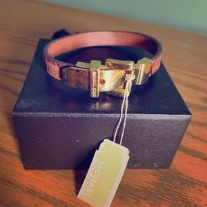 Michael Kors Gold and brown leather bracelet